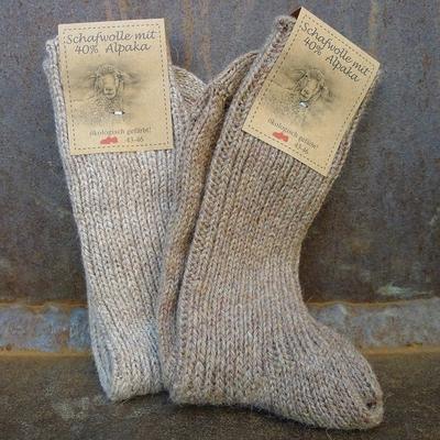 chaussettes laine et alpaga homme marron (lot de 2)
