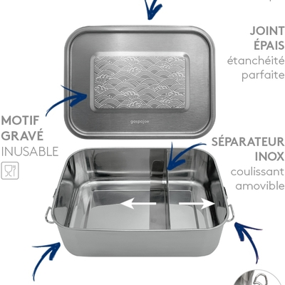 GASPAJOE boîte repas Yummy étanche inox gravée vagues 1200 ml