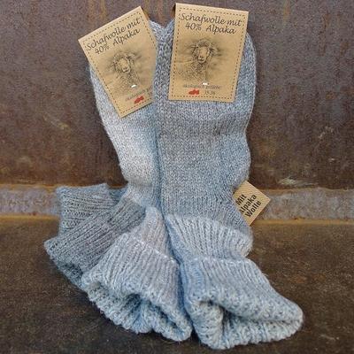 chaussettes laine et alpaga femme gris (lot de 2)