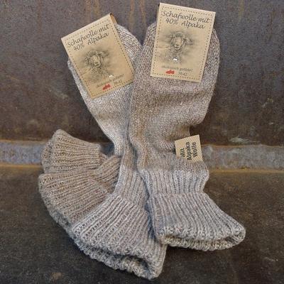 chaussettes laine et alpaga femme marron (lot de 2)
