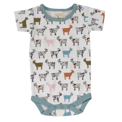 Body bébé - 100 % coton bio - manches courtes - Chèvre colorée