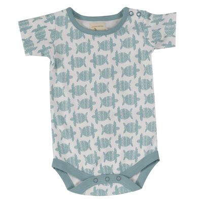 Body bébé - 100 % coton bio - manches courtes - Tortue turquoise