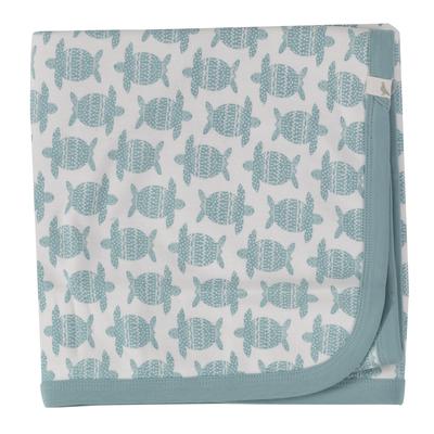 Couverture bébé - 100 % coton bio - tortue turquoise