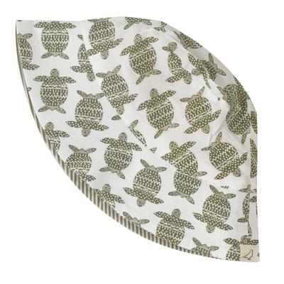 Chapeau réversible - 100 % coton bio - Tortue vert olive