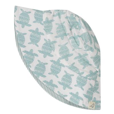 Chapeau réversible - 100 % coton bio - Tortue turquoise