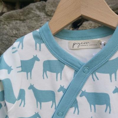 Pyjama bébé - 100 % coton bio - Mouton turquoise