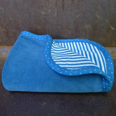 couverture bébé velours coton bio saphir