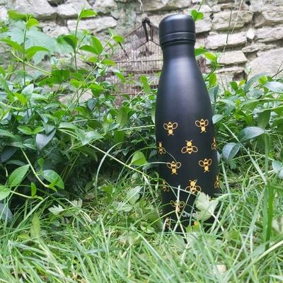 Gourde isotherme - Inox noir & abeilles - 500 ml