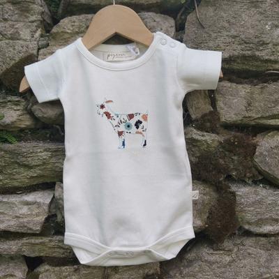 Body bébé - 100 % coton bio - manches courtes - Chèvre