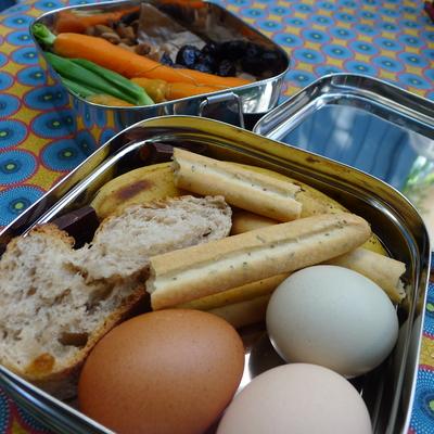 Boîte repas - Tiffin carré XL - 100 % inox - 2 niveaux - 1400 mL