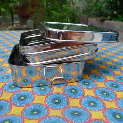 Boîte repas - Tiffin carré - 100% inox - 2 niveaux - 1030 mL