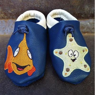 chaussons cuir souple le poisson et l'étoile de mer