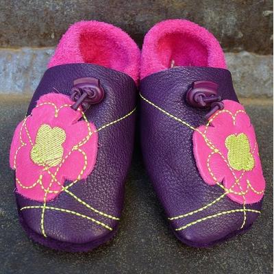 chaussons cuir souple pop art