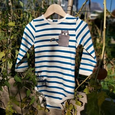 Body manches longues - 100% coton bio - marinière bleu ou bordeaux
