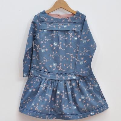 robe enfant coton bio fleurs d'étoiles bleu pan