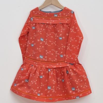 robe enfant coton bio fleurs d'étoiles paprika