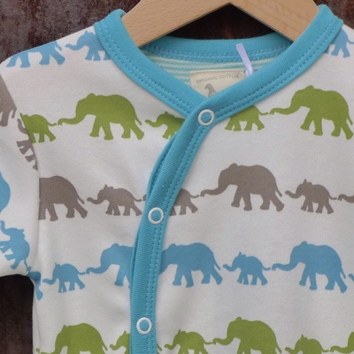 PIGEON pyjama bébé coton bio éléphants bleu