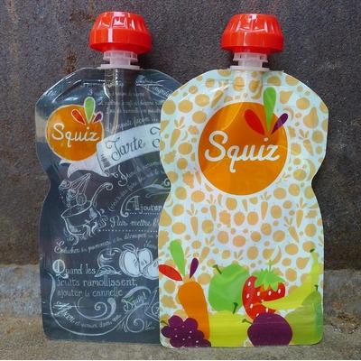 gourde souple recettes fruits couleur 130 ml (lot de 2)