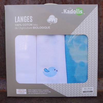 KADOLIS langes coton bio oiseau bleu (lot de 3)
