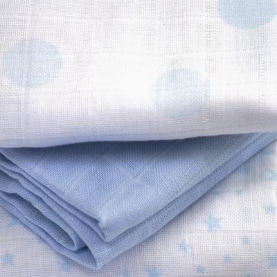 KADOLIS langes coton bio étoiles et pois bleus (lot de 3)