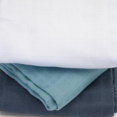 KADOLIS langes coton bio unis bleu ardoise (lot de 3)