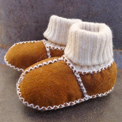 chaussons chaussettes bébé peau d'agneau