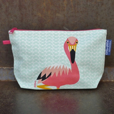 trousse coton bio flamant rose