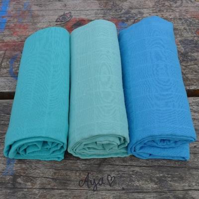 POPOLINI langes coton bio unis bleu turquoise (lot de 3)