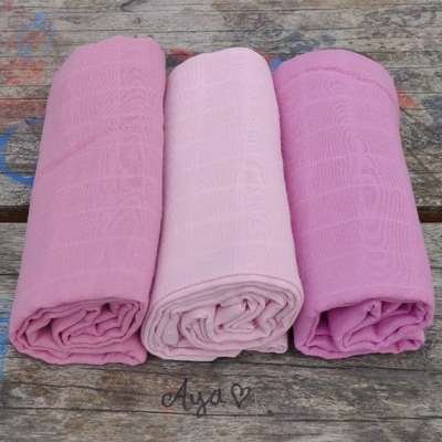 langes coton bio unis roses (lot de 3)