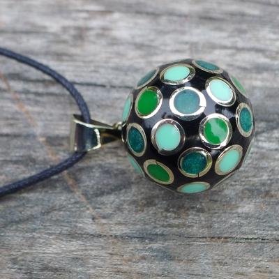 bola de grossesse noir cercles verts argentés