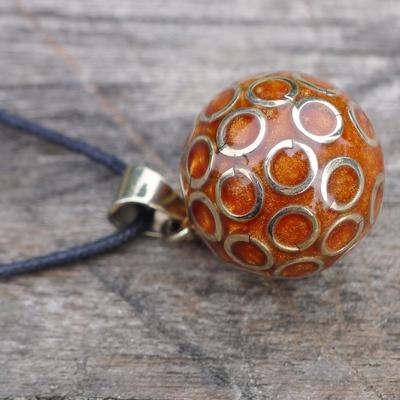 bola de grossesse ambre nacré cercles argentés