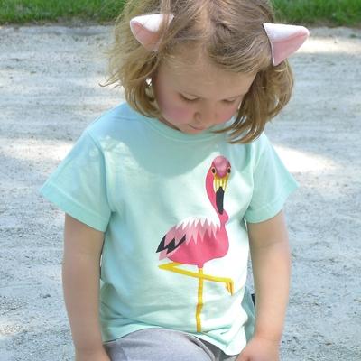 t-shirt coton bio flamant rose