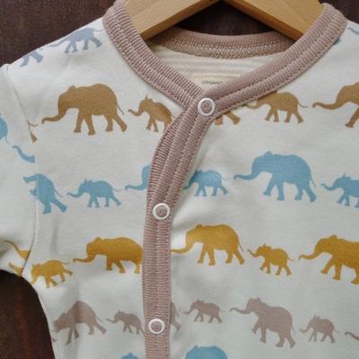 PIGEON pyjama bébé coton bio éléphants moutarde