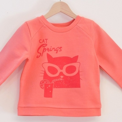LA QUEUE DU CHAT sweat coton bio corail