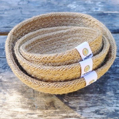 RESPIIN set de 3 mini bols en jute naturel