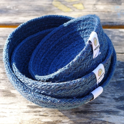 RESPIIN set de 3 mini bols en jute denim
