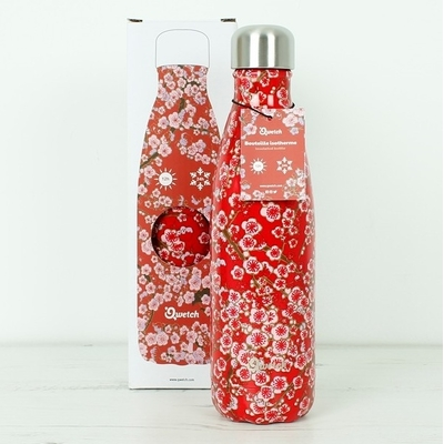 QWETCH bouteille inox isotherme fleurs rouges
