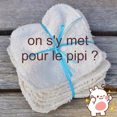 """MON PETIT OKO lingettes lavables """"pipi"""" coton bio (lot de 10)"""