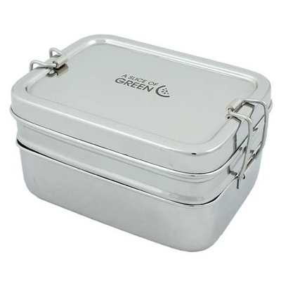 A SLICE OF GREEN Panna lunch box inox 2 niveaux (900 ml) + petite boite