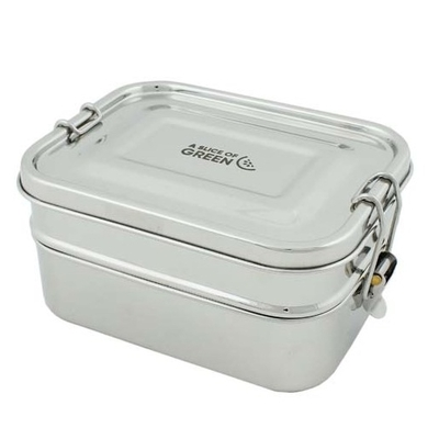 A SLICE OF GREEN Buruni lunch box étanche inox 2 niveaux (1300 ml)