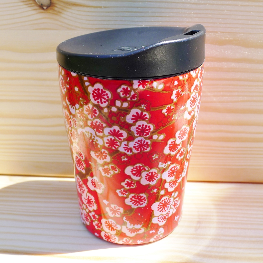 QWETCH mug flowers isotherme inox 240 ml