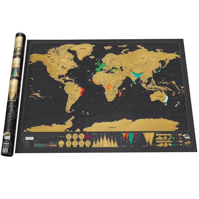 Carte du monde à gratter au fil de vos voyages
