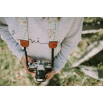Mappemonde Sangle appareil photo coton cuir-1
