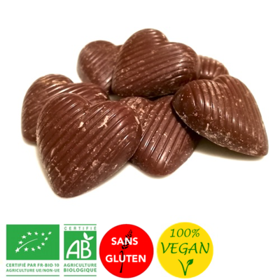 Petits coeurs Chocolat au lait de riz - Vegan - Bio sans gluten