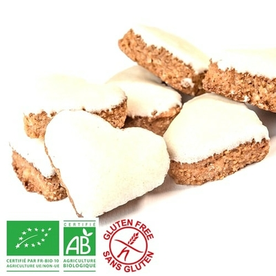 Petits coeurs à la cannelle et glacés - Bio sans gluten - sans lactose