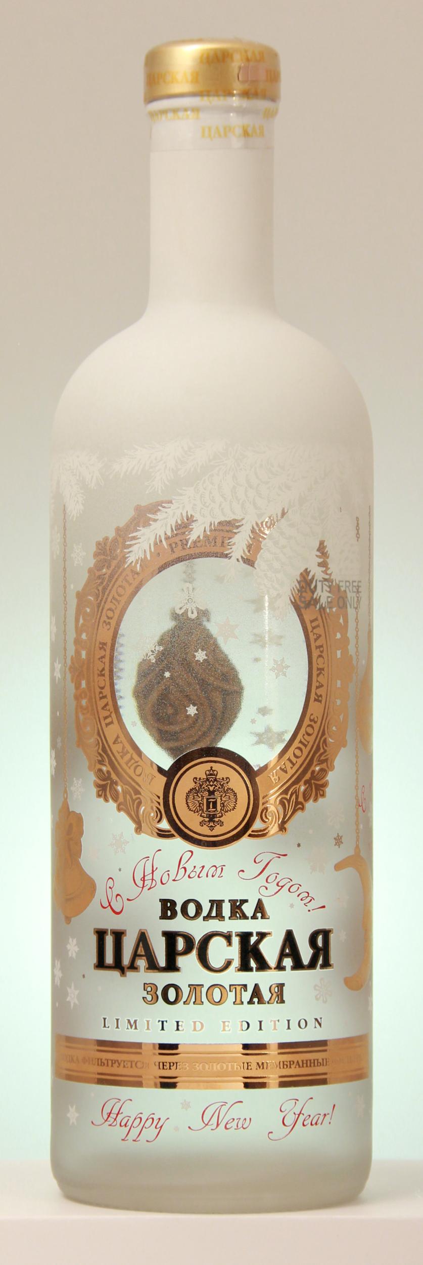 Vodka Tsarskaya Gold Spécial Noël 1 litre New Year Edition Limitée