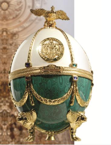 Vodka Impérial Collection Super Premium Oeuf Fabergé Blanc et vert