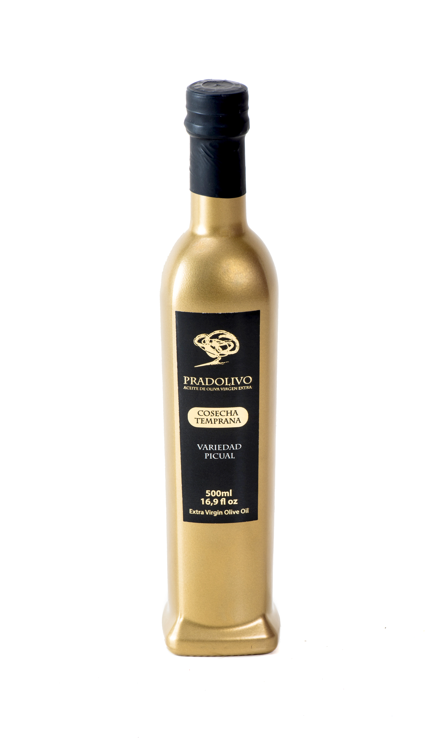 Huile d\' olive extra-vierge Pradolivo Picual 500 ml Edition de Luxe Bouteille Dorée
