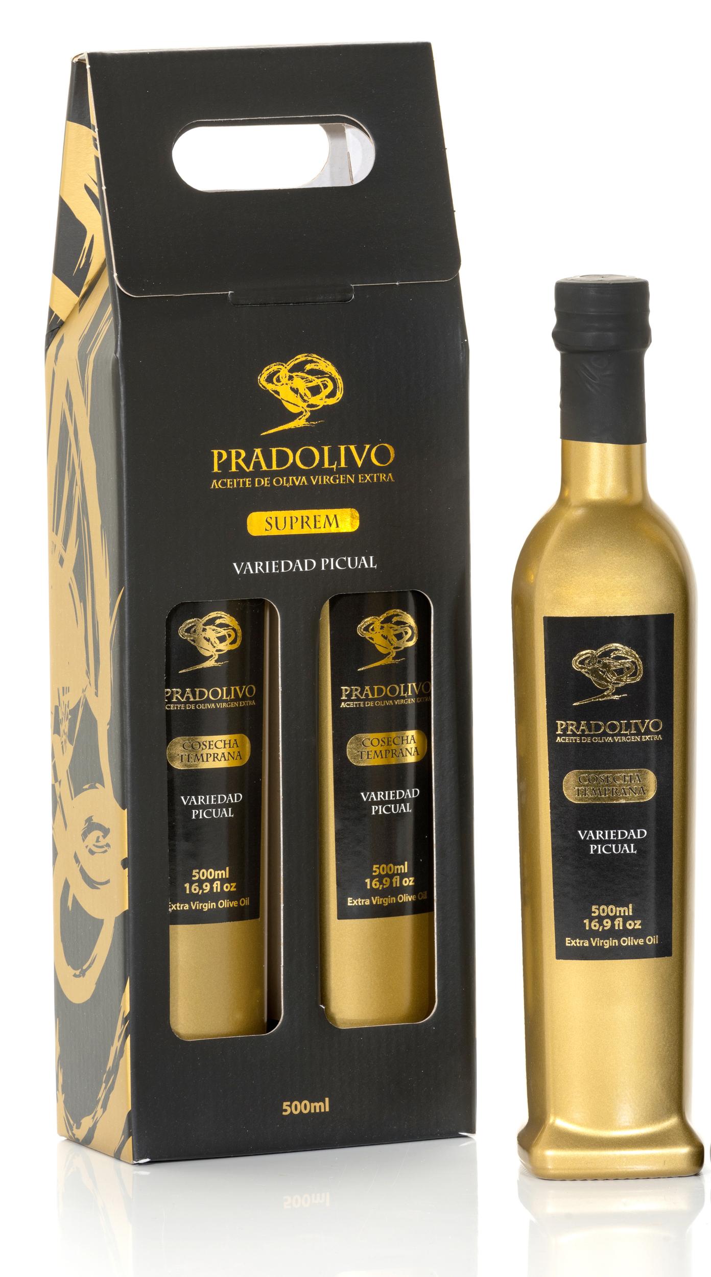 Pack Cadeau Huile d\' olive extra vierge Pradolivo Picual x 2 bouteilles de 500 ml