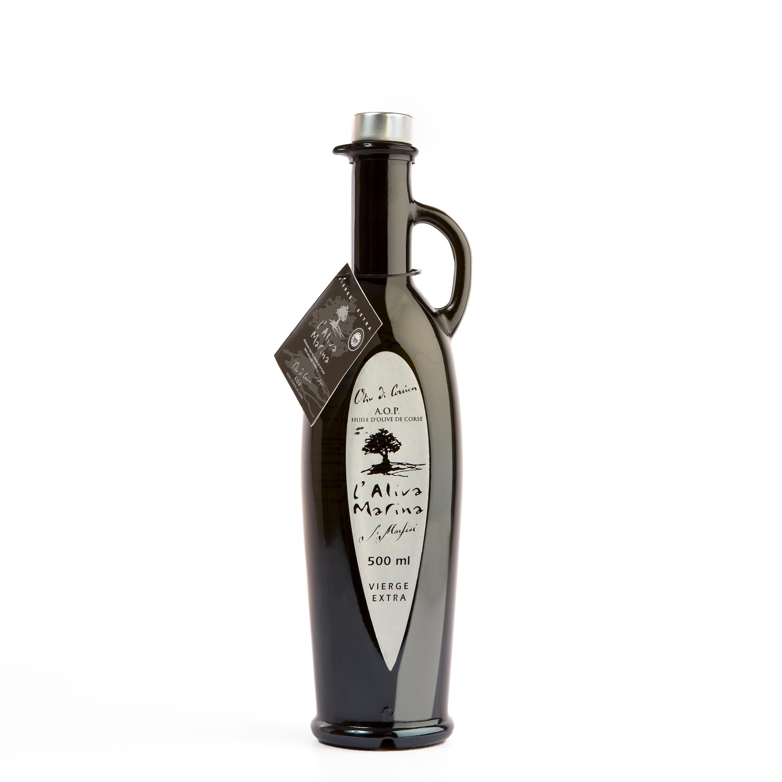 Huile d\' olive de Corse vierge extra AOP Bouteille Amphore 500 ml